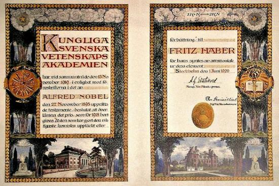 哈伯的诺贝尔奖证书