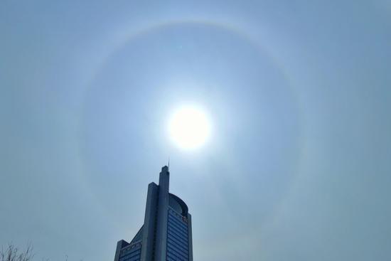 「蓝冠」头看太阳周边蓝冠出现美丽光环预示明天有雨图片