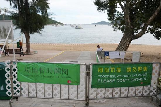 △7月25日,香港深水湾泳滩已经封闭