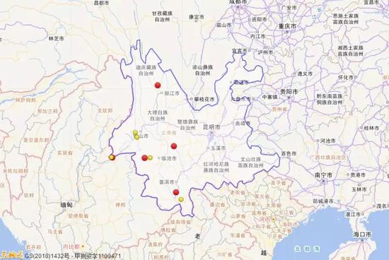 2018年1月1日到3月31日云南三级地震活动分布图(四级以上红色标注)