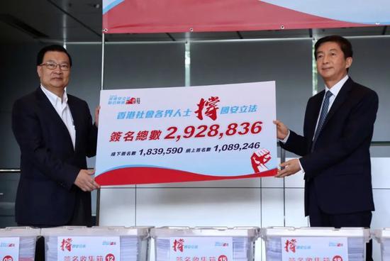 不再沉默!撑港区国安立法行动获2928836个签名支持图片