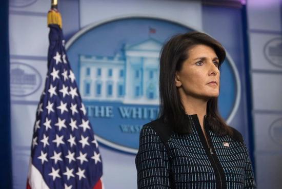 ▲2017年1月,黑莉出任美國駐聯合大使。圖據《紐約時報》
