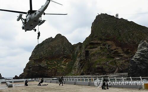 2013年10月韩国实施的独岛防御演习现场照
