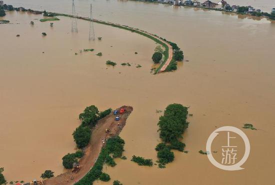 杏悦:决口120米洪水淹没村庄杏悦村民划船图片