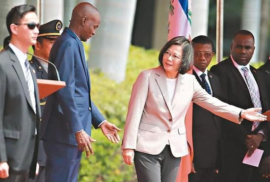 蔡英文29日欢迎海地总统(左二)
