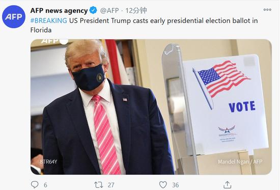 外媒:特朗普在佛罗里达州提前进行了总统选举投票