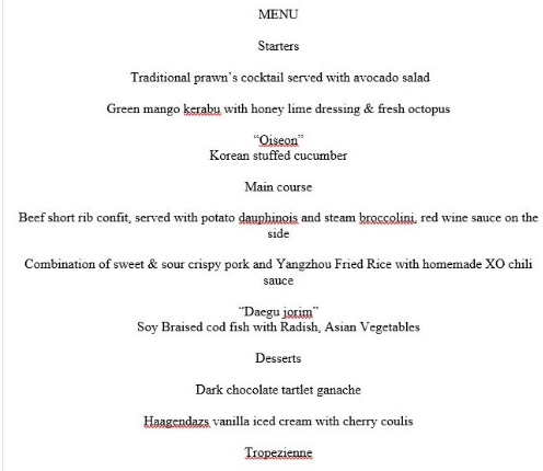 两国领导人工作午餐菜单 图片来源:推特