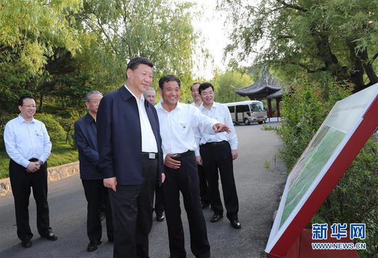 6月12日至14日,中共中央总书记、国家主席、中央军委主席习近平在山东考察。这是12日下午,习近平在威海考察华夏集团生态修复项目。新华社记者 谢环驰 摄