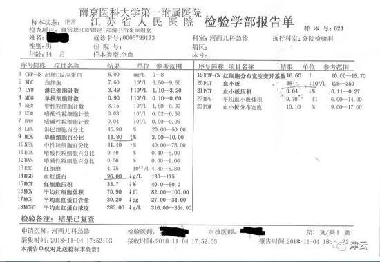 (2018年11月4日的血常规报告)