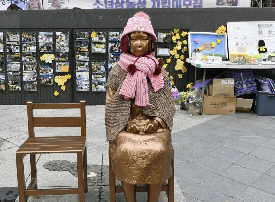 """位于韩国的""""慰安妇""""像(图源:共同社)"""