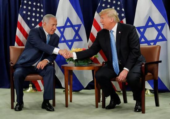 ▲资料图片:2018年9月26日,美国纽约,美国总统特朗普与以色列总理内塔尼亚胡举行双边会谈。