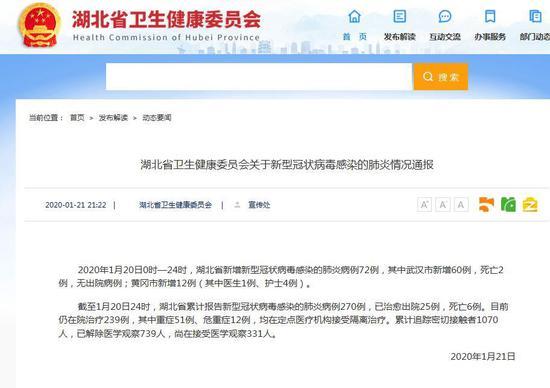 湖北黄冈新增12例新型肺炎病例 含医生1例护士4例