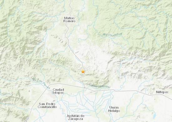 墨西哥南部地区发生5.3级地震。(图片来源:美国地质勘探局网站截图)