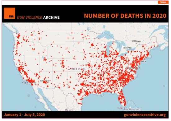 美国枪击暴力档案网站截图。