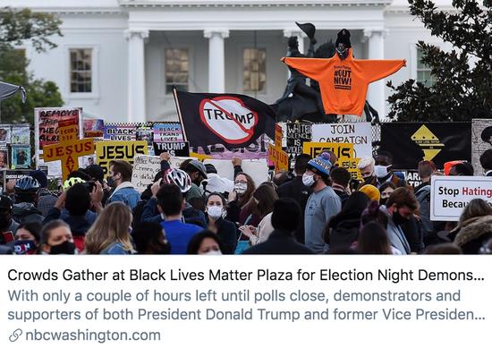 白宫外再建围栏 美国大选之夜被混乱笼罩