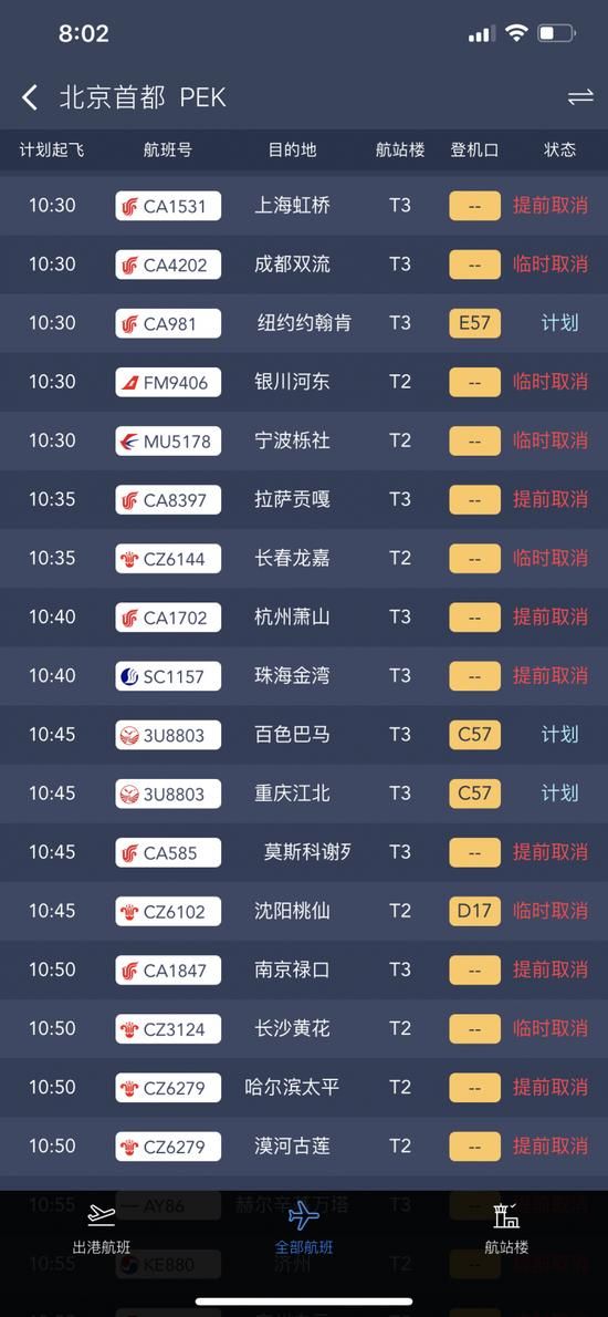 最新!北京两机场共取消航班达1255架次图片