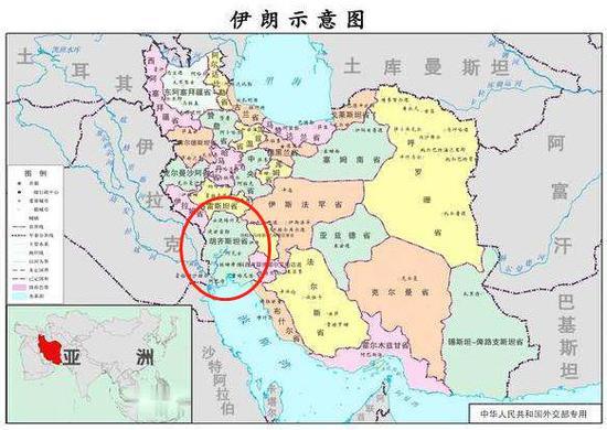 红圈处为胡齐斯坦省