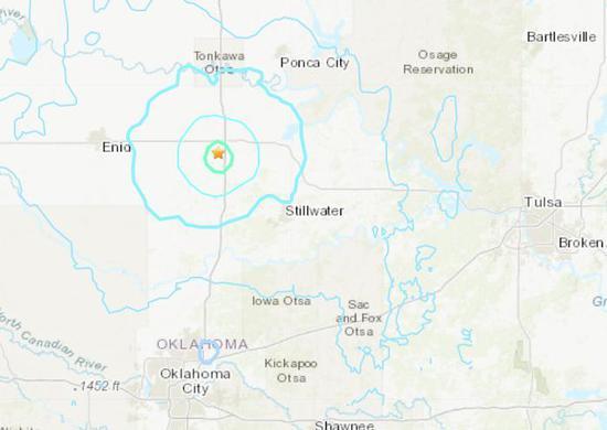 美国俄克拉荷马州发生4.5级地震。(图片来源:美国地质勘探局网站截图)