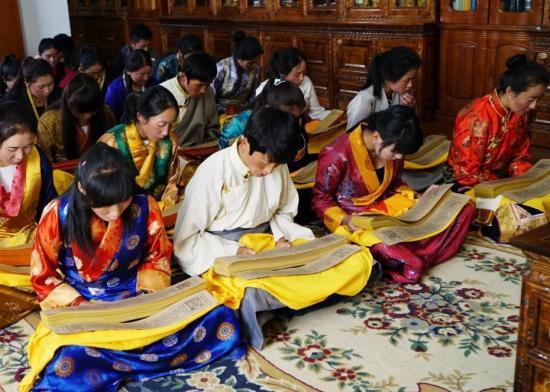 西藏藏医学院的学生正在研读记载着藏医药浴法相关知识的《四部医典》。刘罡 摄 中国非物质文化遗产保护中心供图