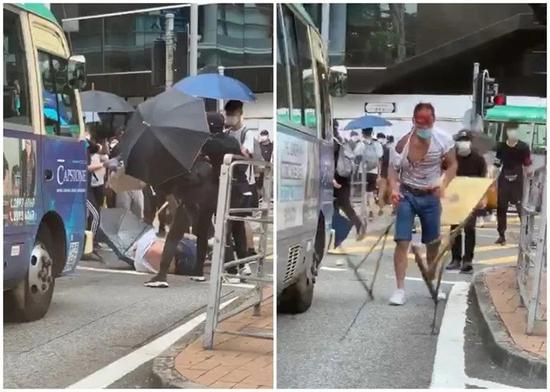 陈子迁被围攻,血流满面。图源:香港东网