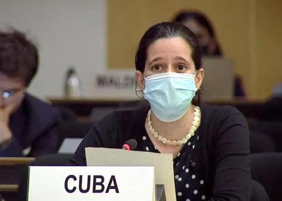 古巴代表谈话(图源:中国日报)