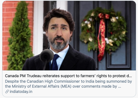 印度农民抗议,加拿大为何掺和进来?
