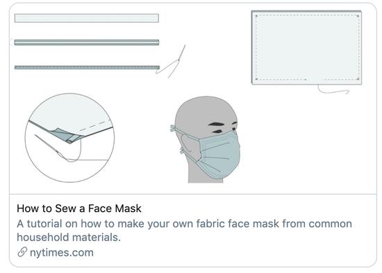 """""""如何缝口罩""""。/《纽约时报》报道截图"""