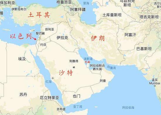 中东地区地图(图源:网络)