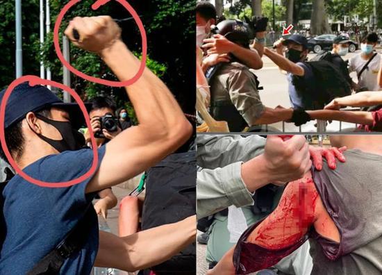 嫌犯刺伤警察现场(图源: 香港。东网)