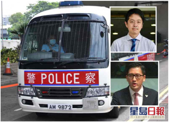 林卓廷及许智峰由警车押上法院提堂