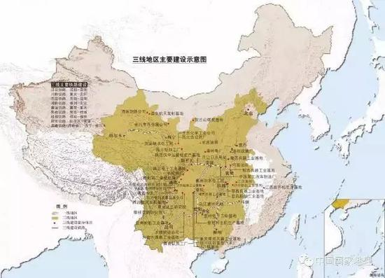 (图为三线地区主要建设示意图 图源:《中国国家地理》2006年6月)