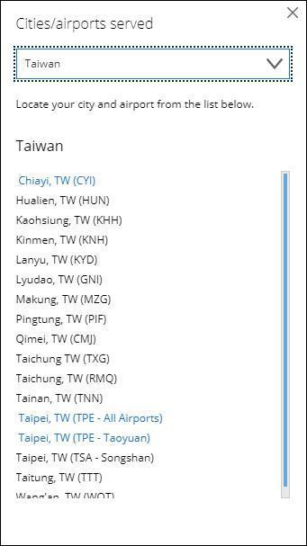 选项栏中,台湾地区仍与中国并列。(美联航官网截图)