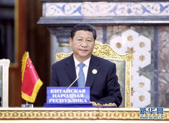 2014年9月12日,上海协作安排成员国首脑理事会第十四次会议在塔吉克斯坦首都杜尚别举行。国家主席习近平到会会议并宣布重要讲话。(图片来自:新华网)