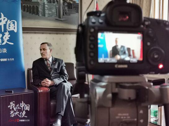 尼泊尔驻华大使利拉马尼鲍德尔接受人民日报海外网专访。(摄/海外网 付勇超)