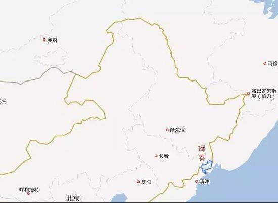 ▲珲春市位置(图片来源:百度地图)