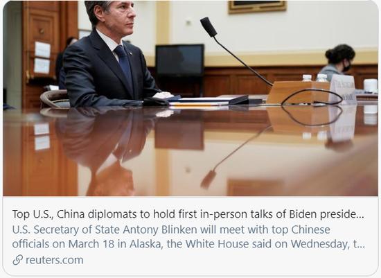 拜登上任后,中美即将进行首次面对面会晤。/路透社报道截图
