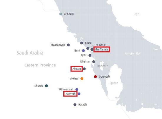 (沙特境内遇袭石油设施所在地Abqaiq和Khurais)