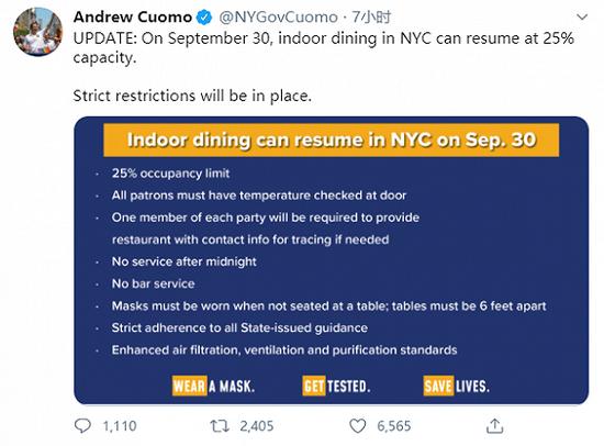 纽约州长:餐厅9月30日起恢复室内用餐 人数上限25%