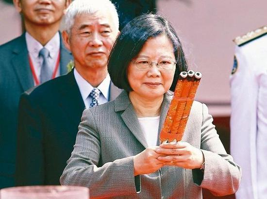 台湾地区领导人蔡英文。(图片来自台媒)