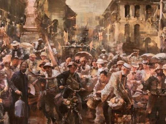 ▲油画《爱因斯坦在上海》俞晓夫