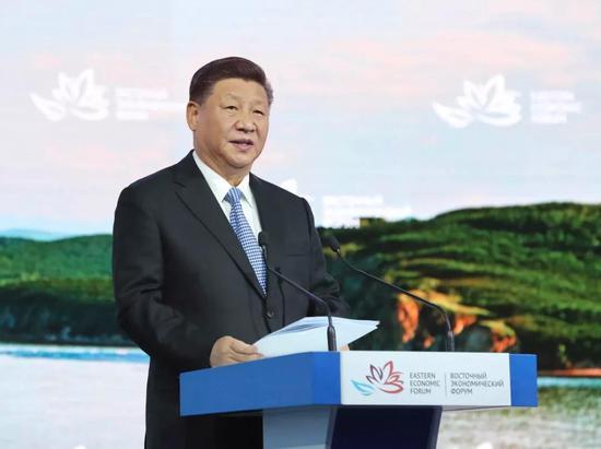 9月12日,第四届东方经济论坛全会在符拉迪沃斯托克举行。中国国度主席习近平列席并发表题为《共享远东开展新机遇 创始东北亚美妙新将来》的致辞。新华社记者鞠鹏摄