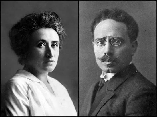 ▲罗莎・卢森堡(左)和卡尔・李卜克内西