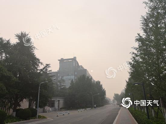 今晨,北京天空阴沉,空气湿度大。(图/王雯雯)