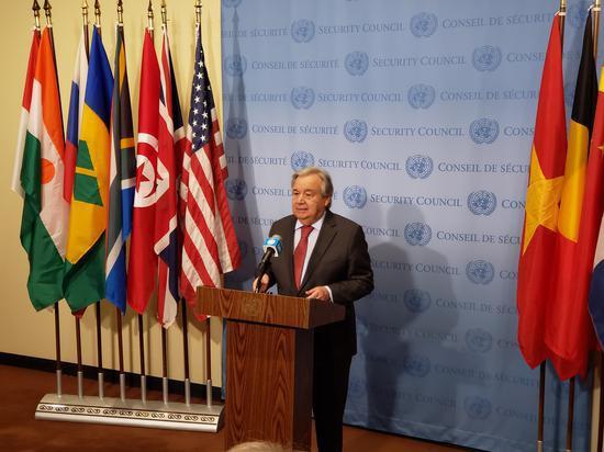 ▲1月6日,联合国秘书长古特雷斯在纽约联合国总部发表讲话。|贾泽驰 摄