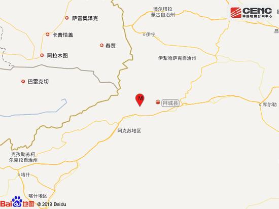 新疆阿克苏地区拜城县发生5.0级地震