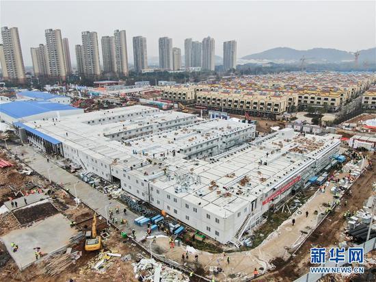 这是2月2日拍摄的武汉火神山医院(无人机照片)。 新华社记者 程敏 摄