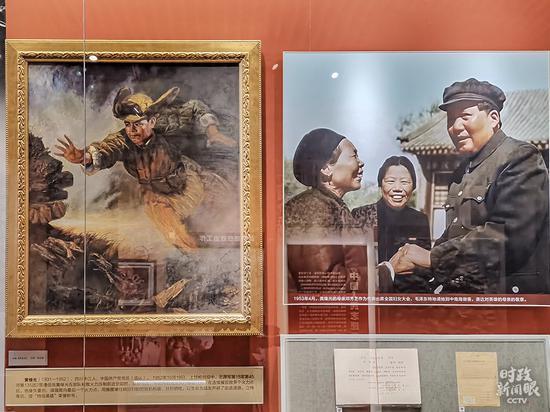 △左为黄继光,右为1953年4月,毛主席在天下妇女大会上访问黄继光的母亲邓芳芝。(总台央视记者郭鸿拍摄)
