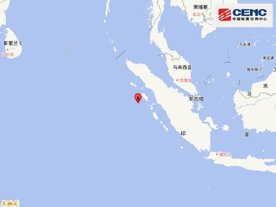 印尼苏门答腊岛远海附近发生6.7级左右地震