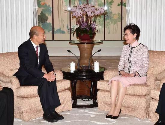 3月22日,香港特首林鄭月娥與高雄市長韓國瑜會面。(圖:香港特區政府新聞公報)