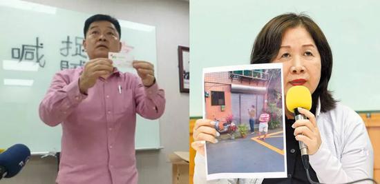 因候选人薛凌(右)与王孝维(左)互控贿选,民进党暂停台北市党部主委选举。